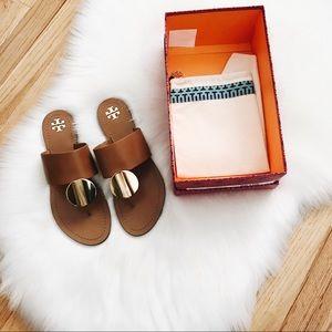 Tory Burch Patos Disk Sandal Tan Calf Leather 9